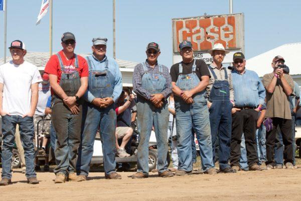 Dawson Matheson, Garrett Satterly, Bob Johnson, Brian Krog, John Larson, Trevor Guinter, Mark Davidson all part of the 150 Case team standing by during the unveil
